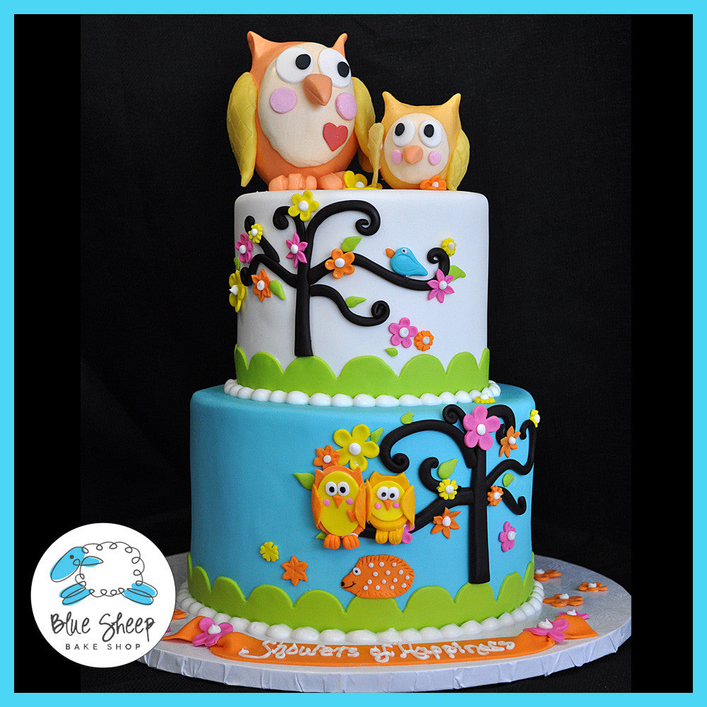 Owl Cupcakes For Baby Shower: Owl Baby Shower Custom Cake