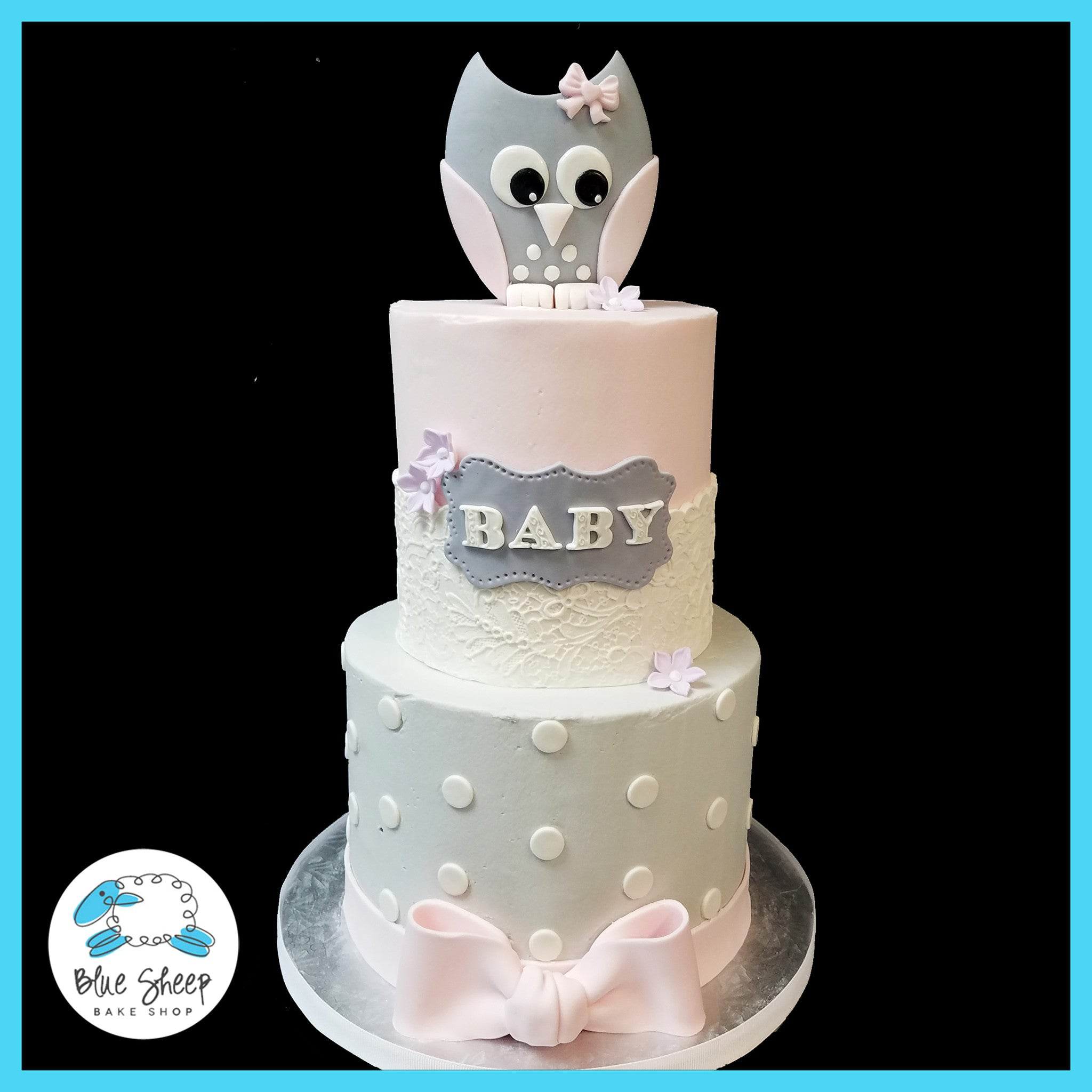 Pink And Grey Owl Baby Shower Cake Blue Sheep Bake Shop