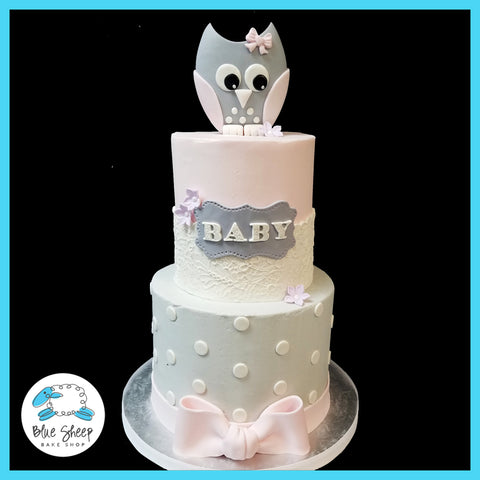 owl themed baby shower cake nj