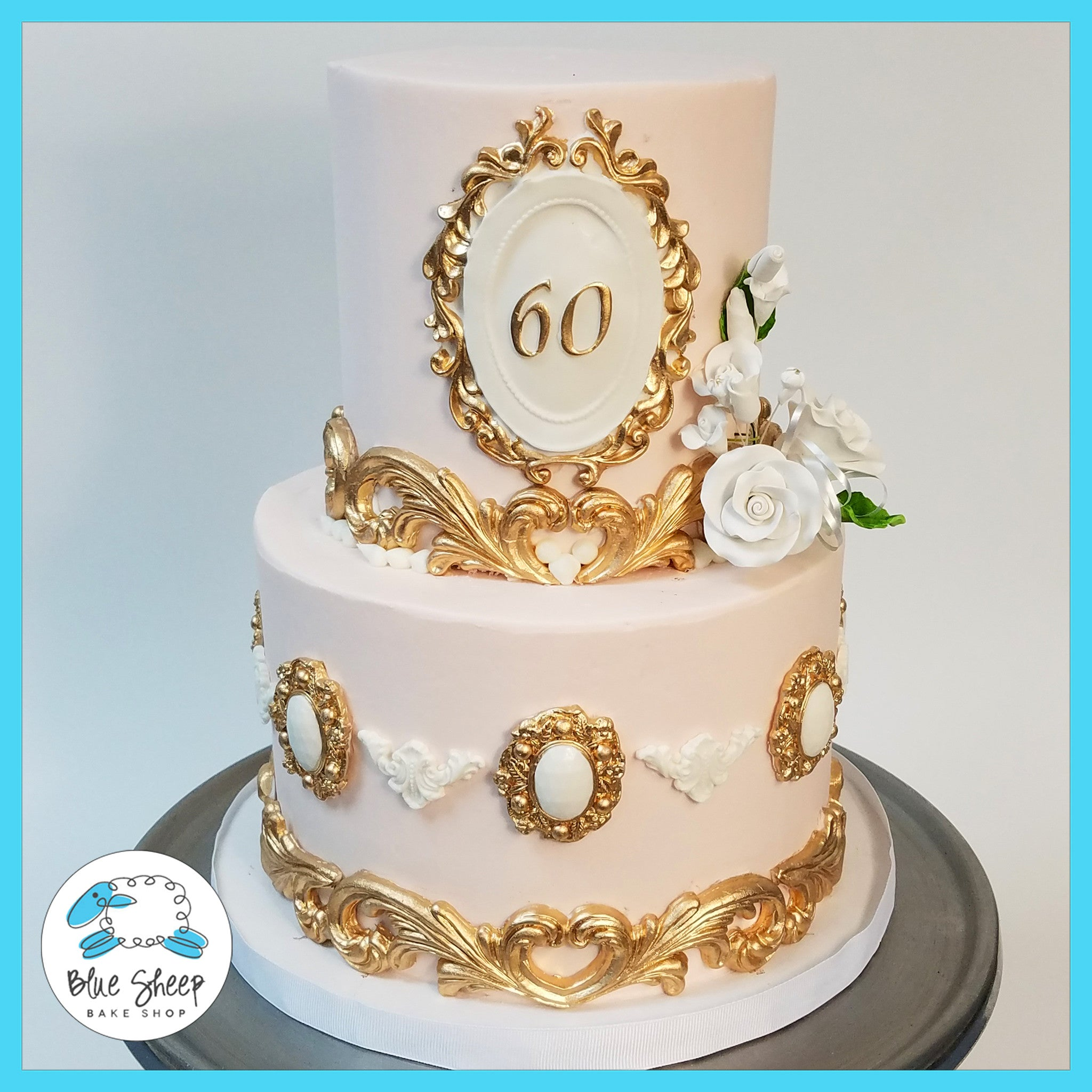 Pleasant Pink And Gold Vintage 60Th Birthday Cake Nj Blue Sheep Bake Shop Personalised Birthday Cards Paralily Jamesorg