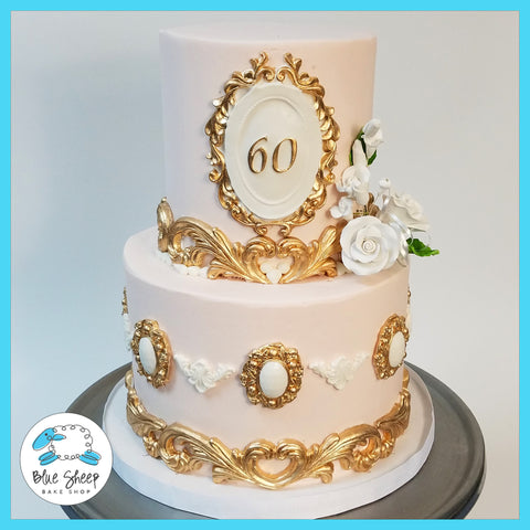 vintage pink and gold birthday cake nj