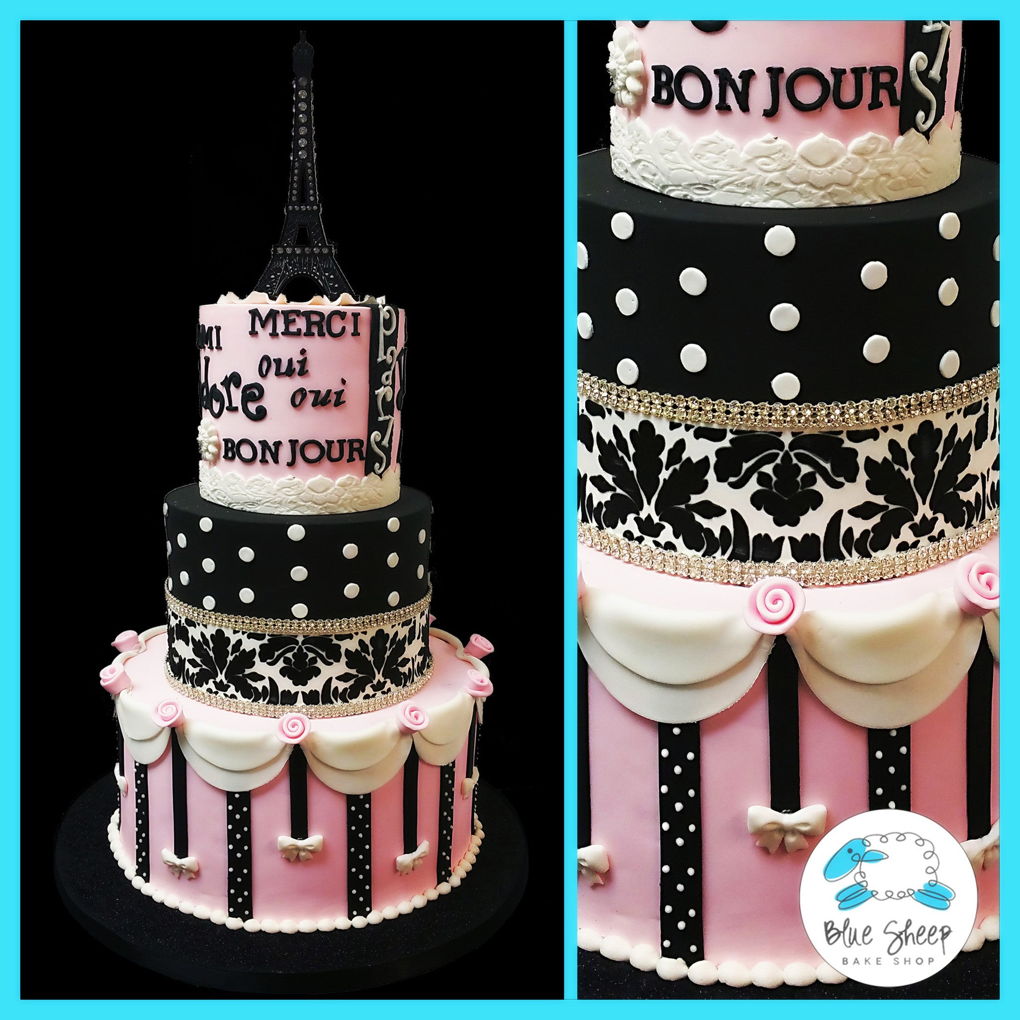 Paris Themed Birthday Cake Blue Sheep Bake Shop
