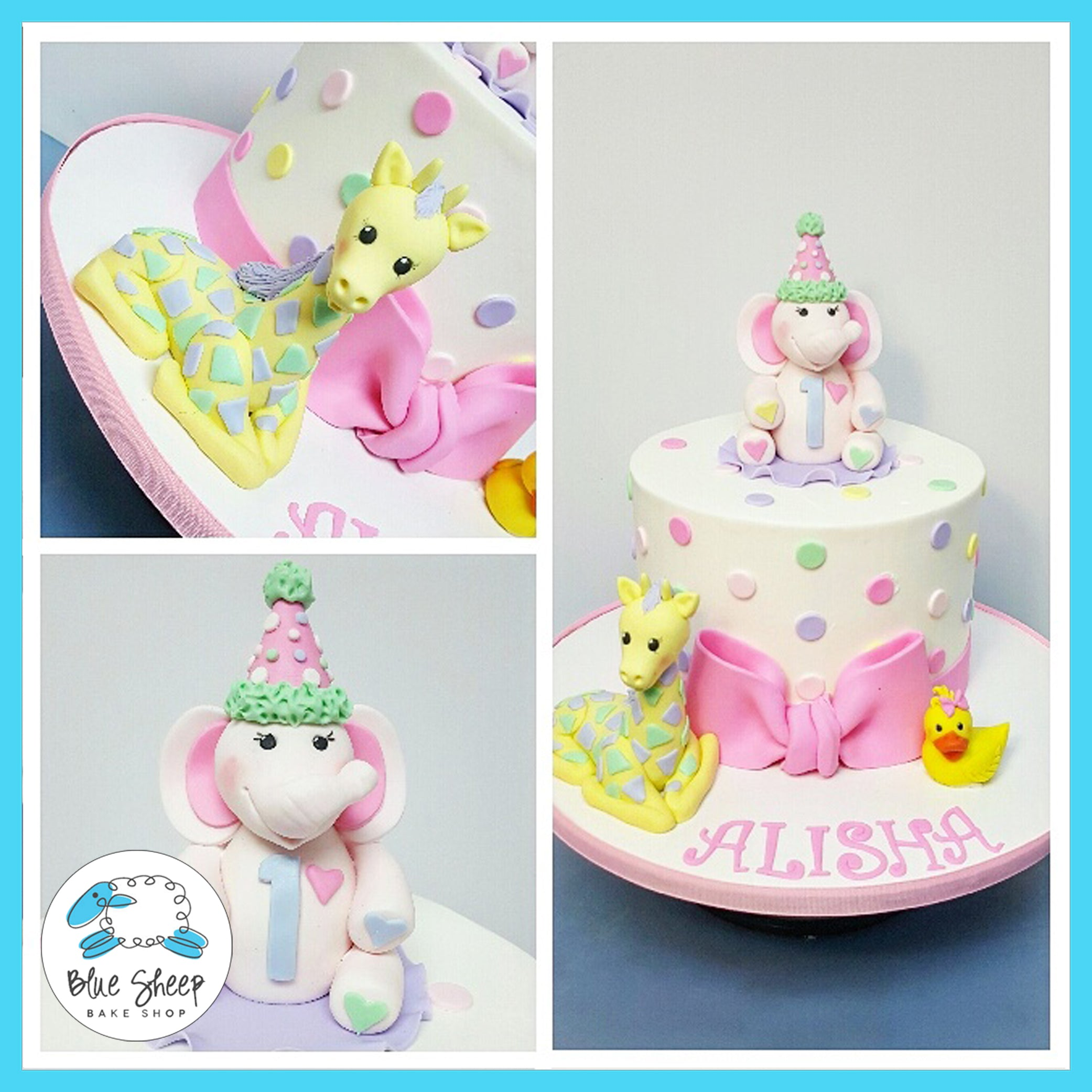 Alishas 1st Birthday Pastel Safari Cake Nj Blue Sheep Bake Shop