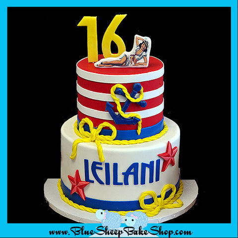 nautical sweet 16 sailor pin up cake by blue sheep custom cakes nj