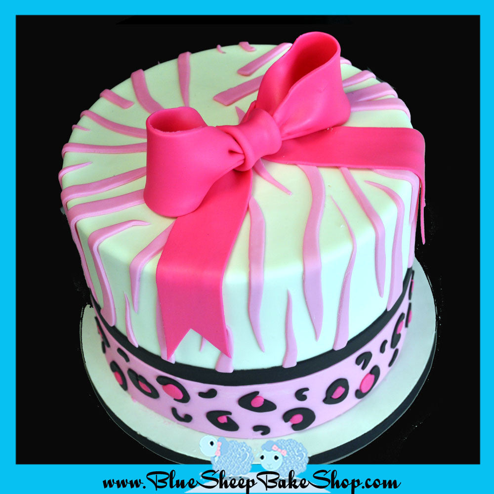 Nail Cake Blue Black Splodges Cow Print: Pink Animal Print Baby Shower Cupcake Tower