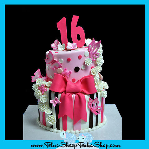 Pink and Brown Sweet 16 Birthday Cake