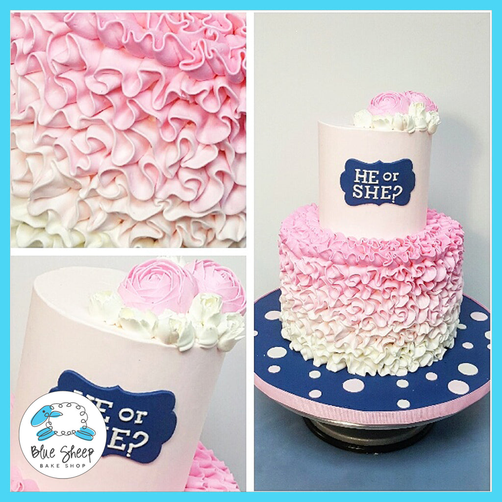 pink and blue ruffle gender reveal baby shower cake nj