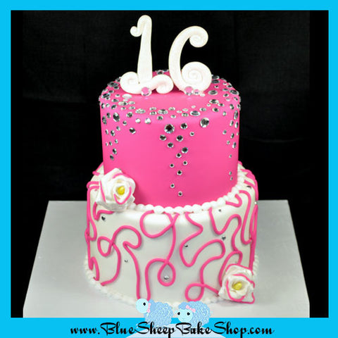 Pink & Diamonds Sweet 16 Birthday Cake