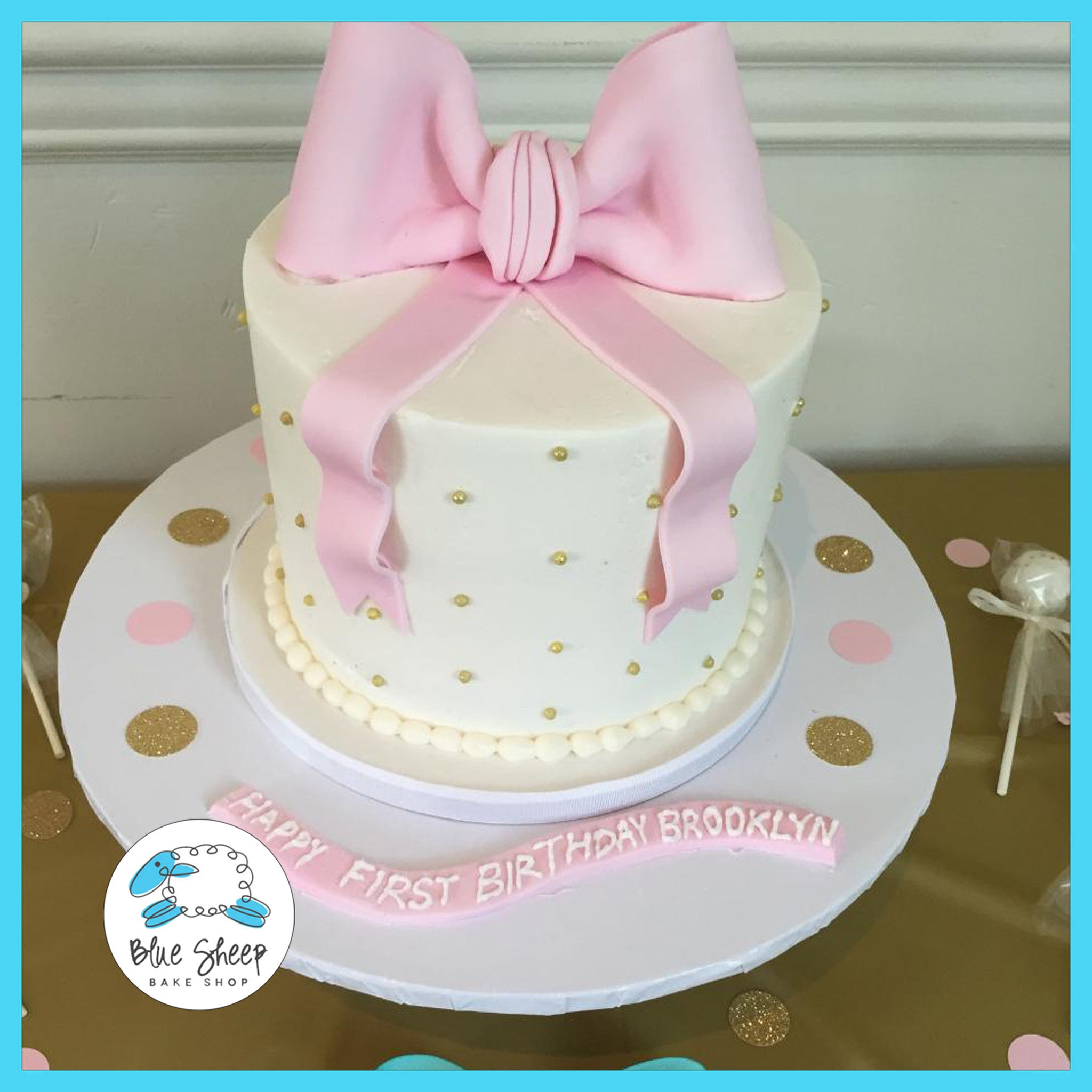 Brooklyns Pink and Gold Buttercream 1st Birthday Cake