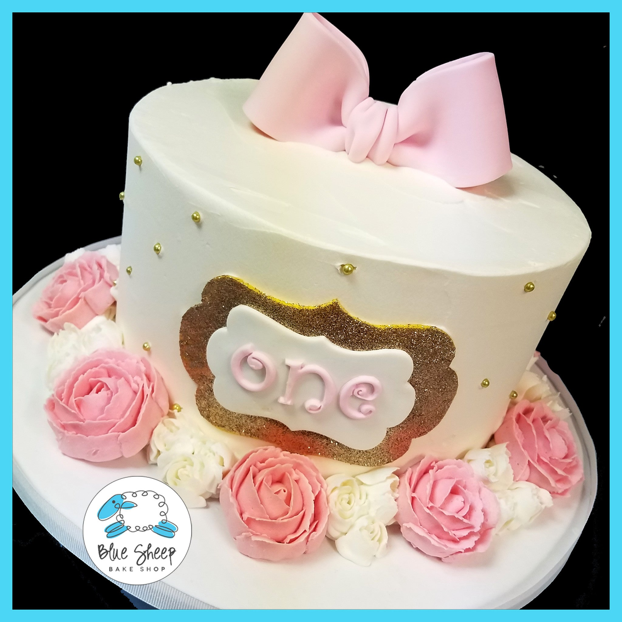 Pink Gold 1st Birthday Cake With Buttercream Roses