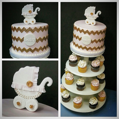 pink and gold chevron baby shower cupcake tower with cake nj
