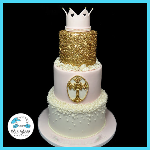 gold and pink christening cake nj
