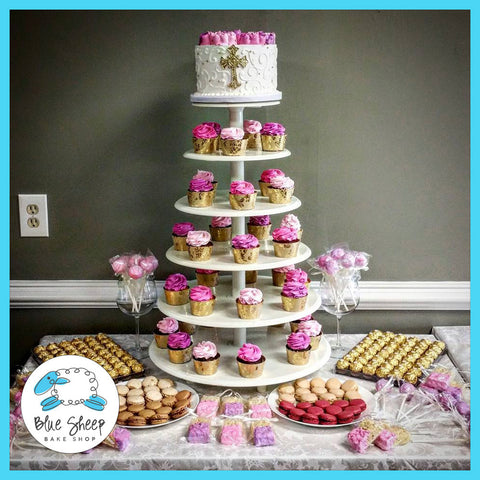 pink and gold christening cupcake tower & dessert table NJ