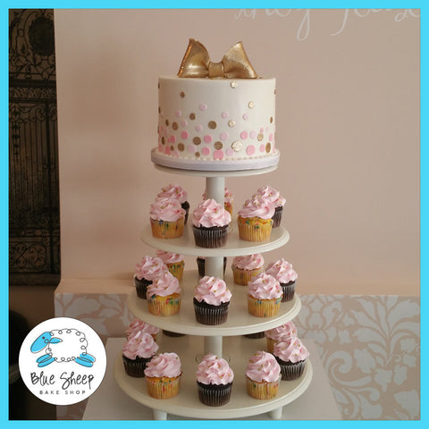 pink and gold glittery cupcake tower nj