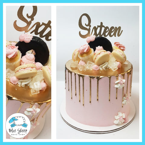 pink and gold drip sweet 16 cake nj