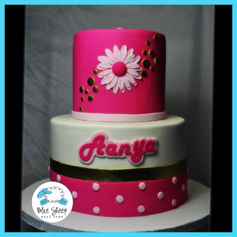 pink and gold gerbera daisy 1st birthday cake