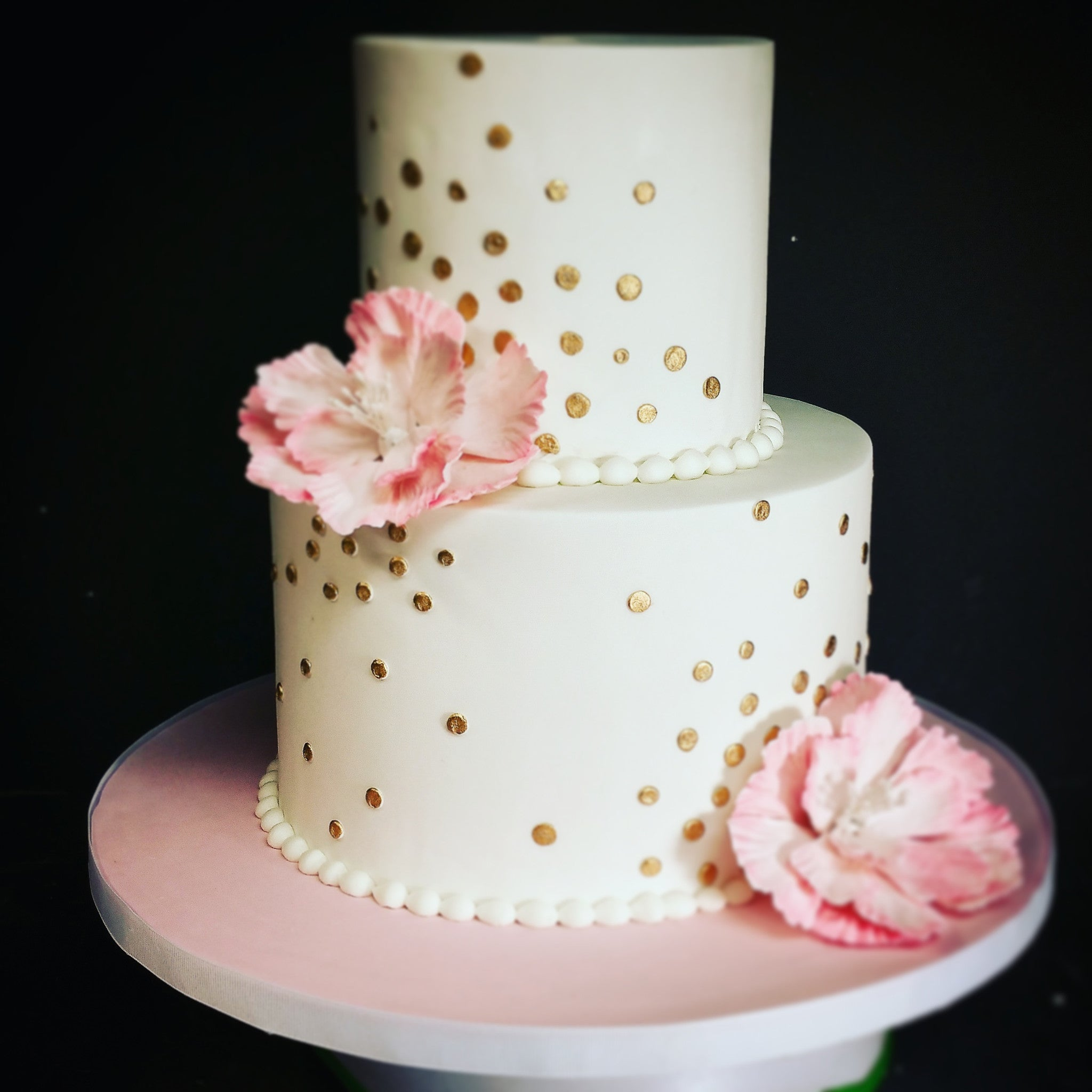 Pink and Gold Polka Dot Birthday Cake With Peony | Blue Sheep Bake Shop