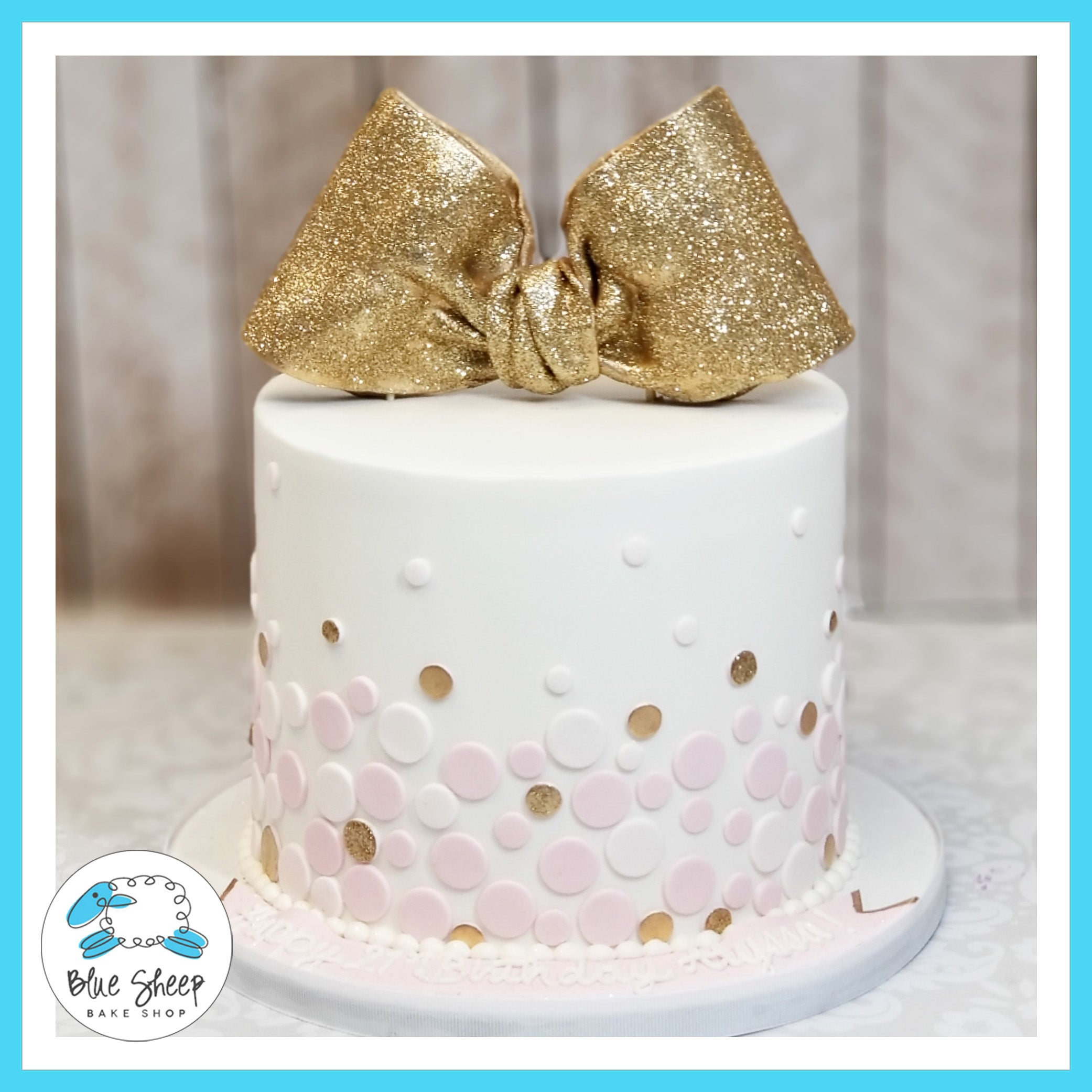 Astonishing Pink And Gold Polka Dot Birthday Cake Blue Sheep Bake Shop Funny Birthday Cards Online Fluifree Goldxyz