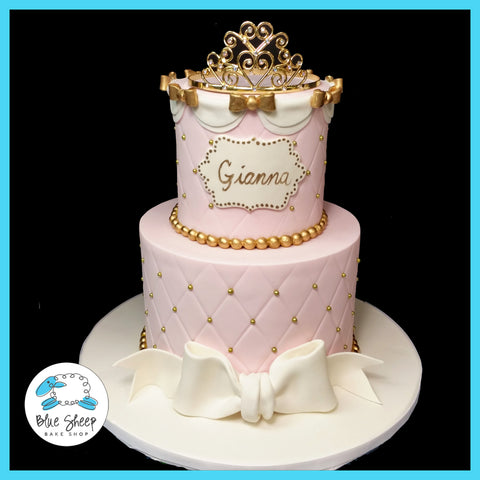 Giannas PrincessPink and Gold 1st Birthday Cake Blue Sheep Bake Shop