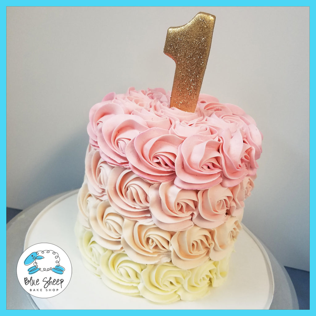 pink and gold rosette ombre smash cake nj