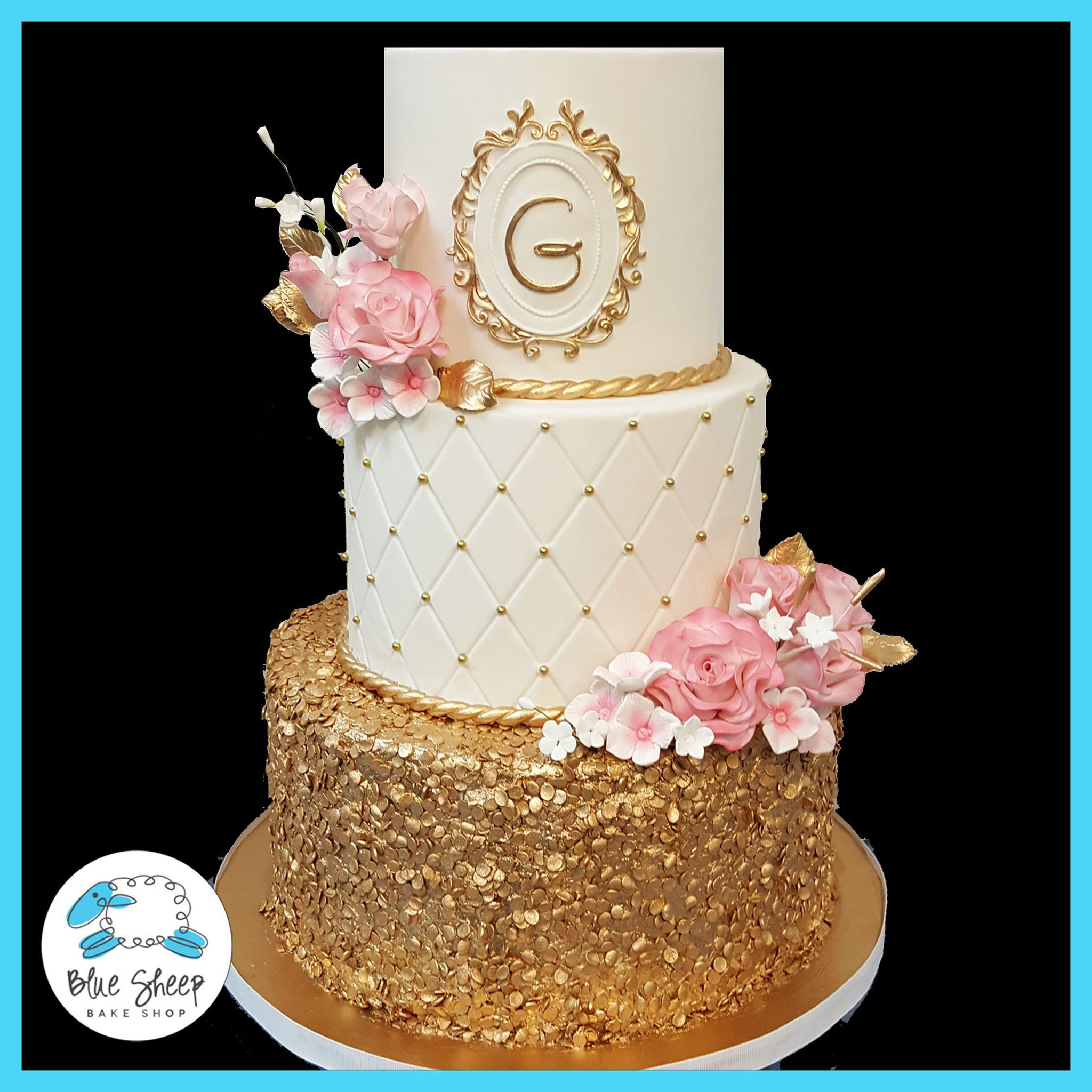 Pink and Gold Wedding Cake NJ Blue Sheep Bake Shop
