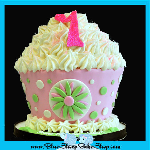 Pink and Green Giant Cupcake Birthday Cake Custom Cakes NJ