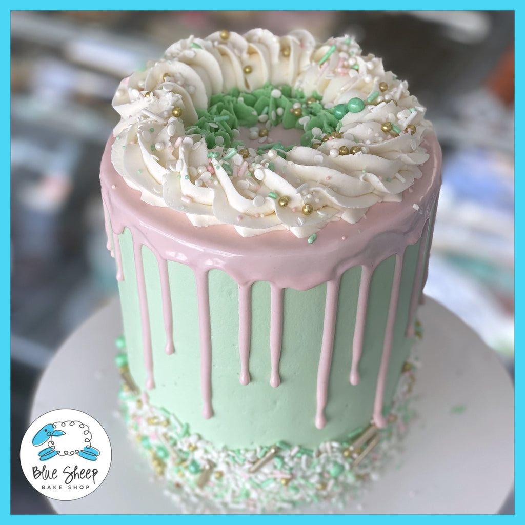 pink and mint drip to go cake birthday cakes nj