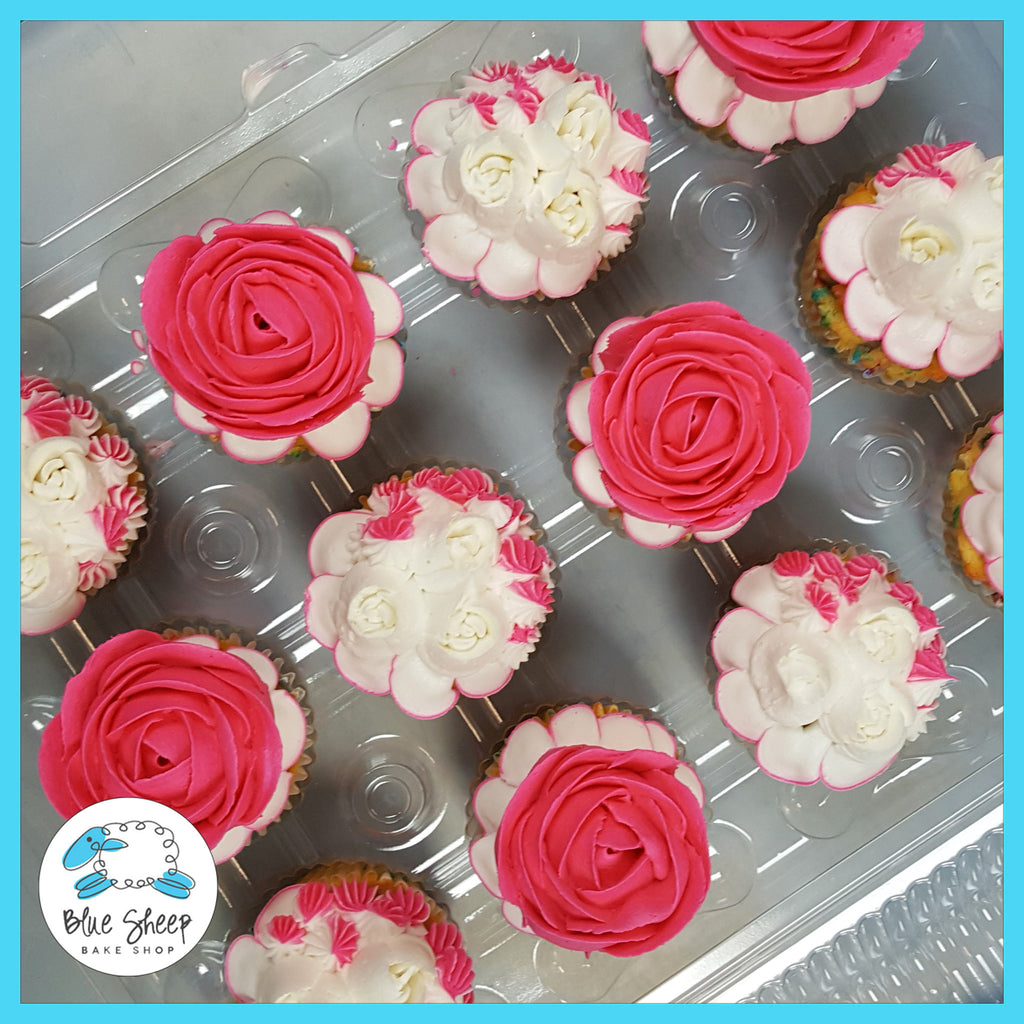 bright pink and white floral cupcakes nj