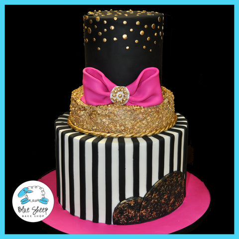 Pink Black White Gold Couture 40th Birthday Cake Nj