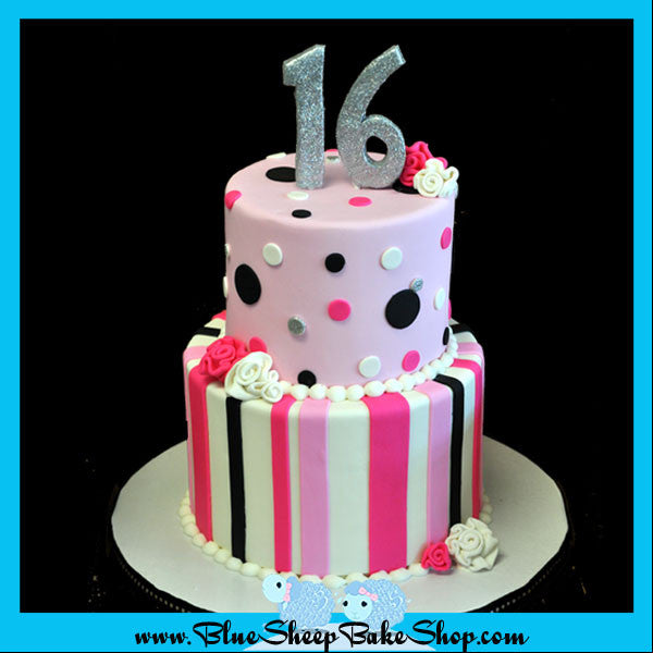 Awesome Pink Black And White Sweet 16 Birthday Cake Blue Sheep Bake Shop Funny Birthday Cards Online Aeocydamsfinfo