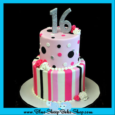 pink black and white tiered sweet 16 cake