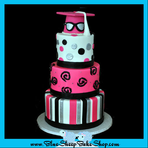 hot pink black and white cake