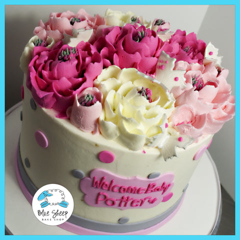 Pink & Grey Buttercream Baby Shower Cake with Flowers & Polka Dots