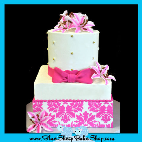 pink damask wedding cake sweet 16 cake