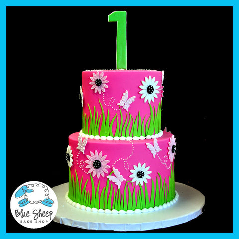 1st birthday cake nj pink and lime gerbera daisy