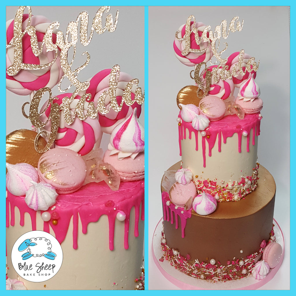 gold pink chocolate drip cake nj