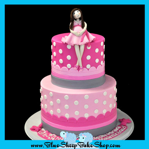 pink baby shower cake with polka dots custom cakes nj