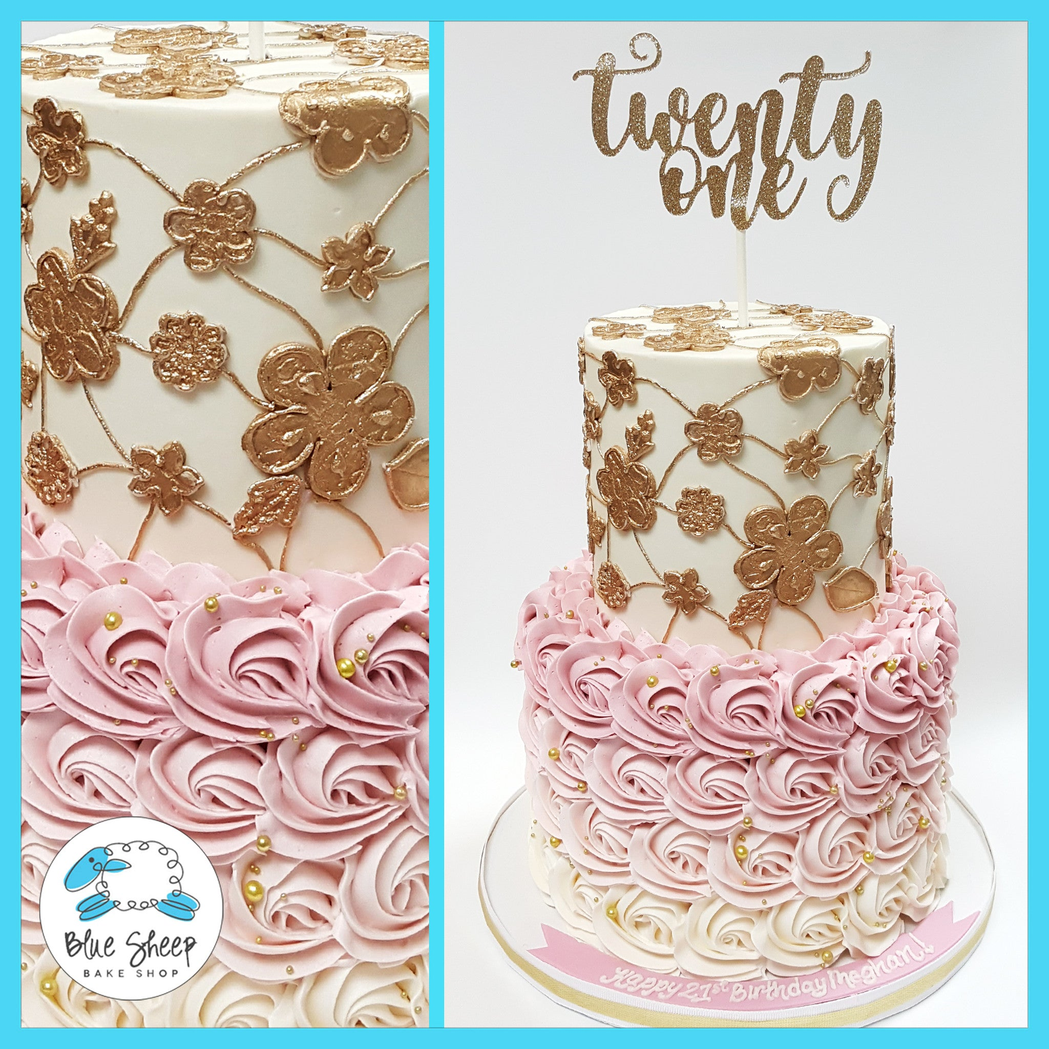 Pink Ombre Rosette And Lace 21st Birthday Cake Nj Blue Sheep Bake Shop