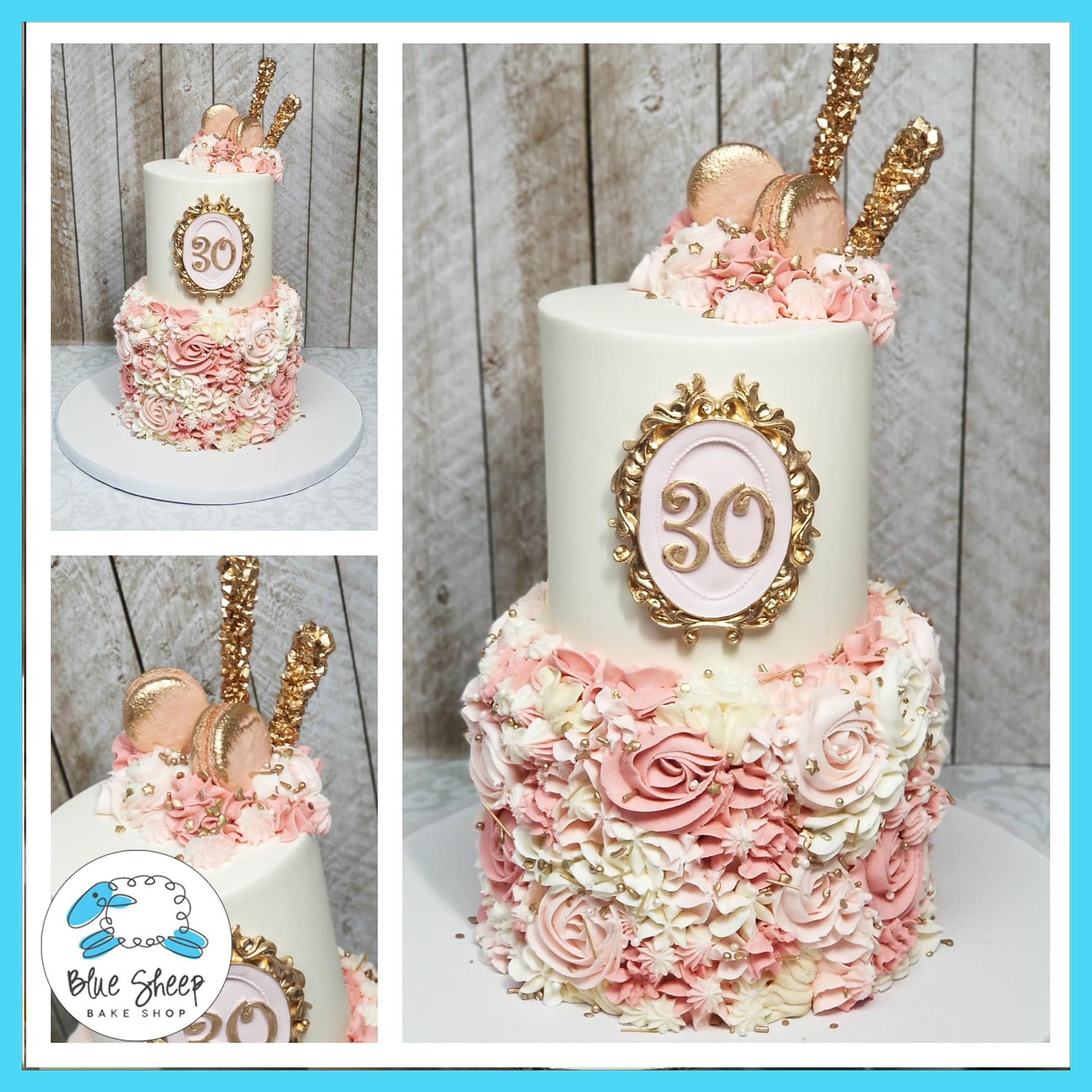 Astounding Pink Buttercream Textures 30Th Birthday Cake Blue Sheep Bake Shop Personalised Birthday Cards Paralily Jamesorg
