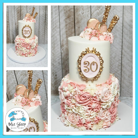 Pink textures buttercream 30th birthday cake - NJ Birthday Cakes