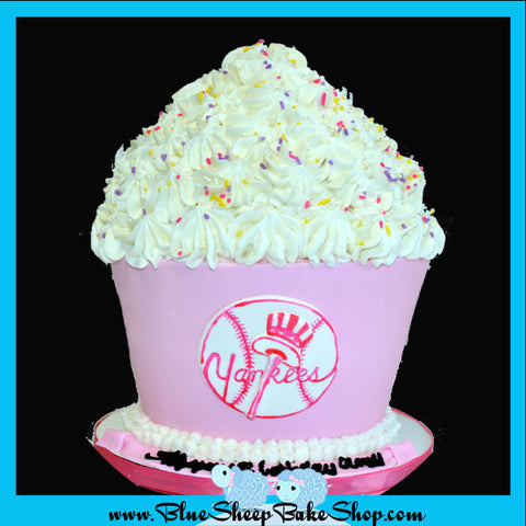 pink yankees giant cupcake birthday cake custom cakes nj