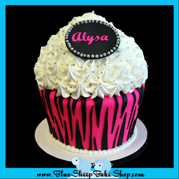 Pink Zebra Giant Birthday Cupcake Cake Blue Sheep Bake Shop