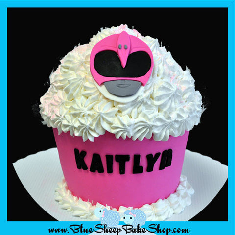 Custom Pink Power Ranger Giant Cupcake Birthday Cake NJ