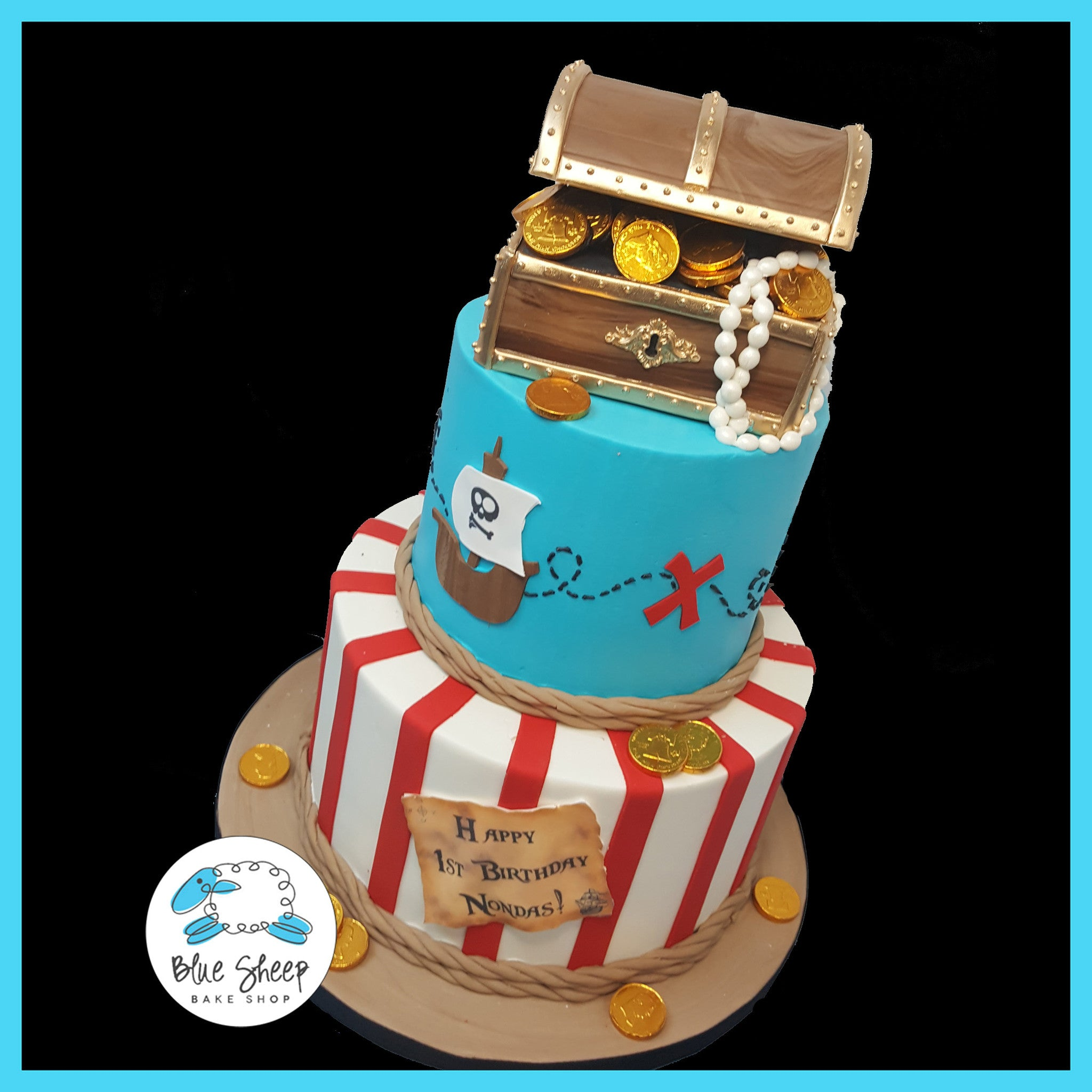 Outstanding Pirate Birthday Cake Blue Sheep Bake Shop Funny Birthday Cards Online Alyptdamsfinfo