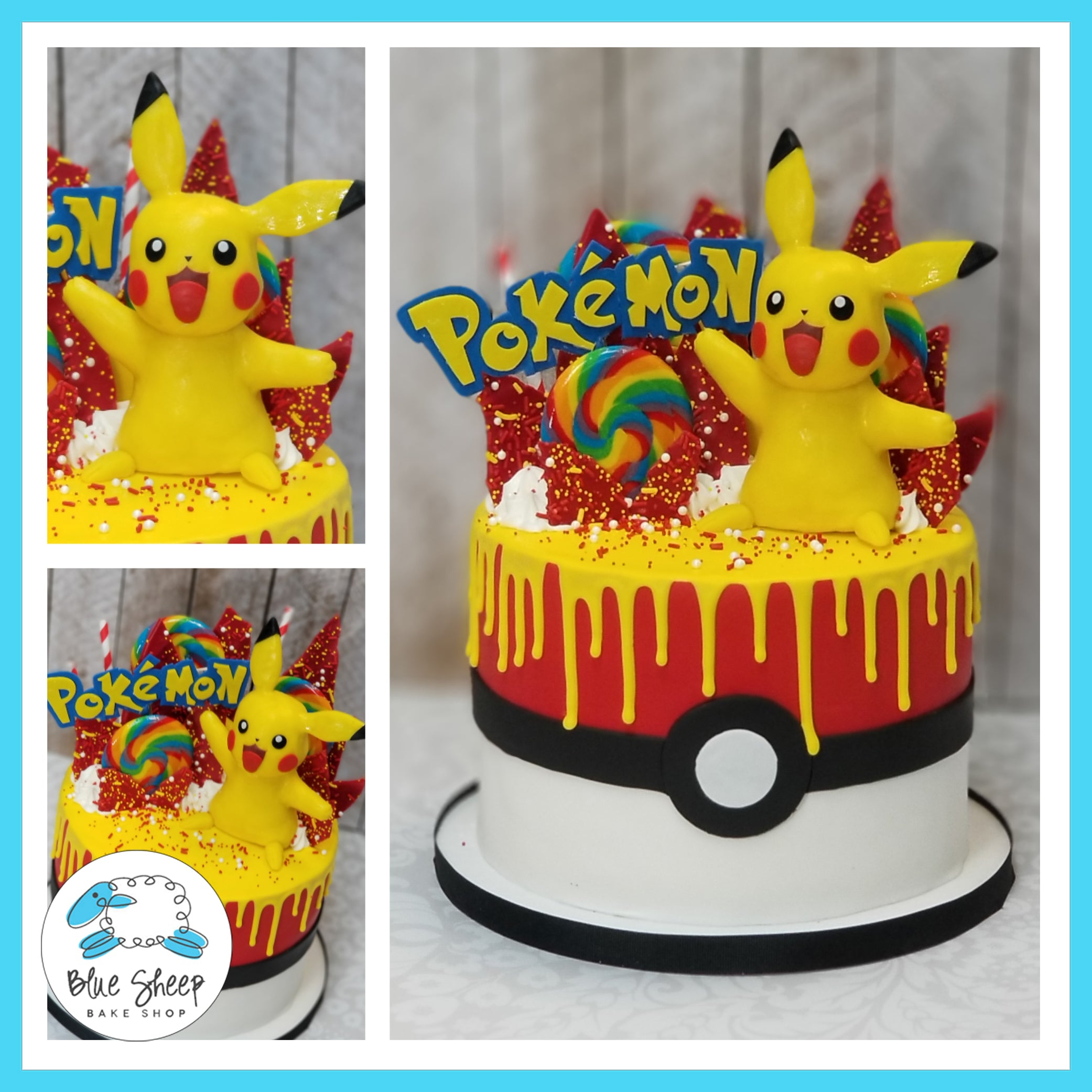 Remarkable Pokemon Birthday Cake Blue Sheep Bake Shop Personalised Birthday Cards Bromeletsinfo