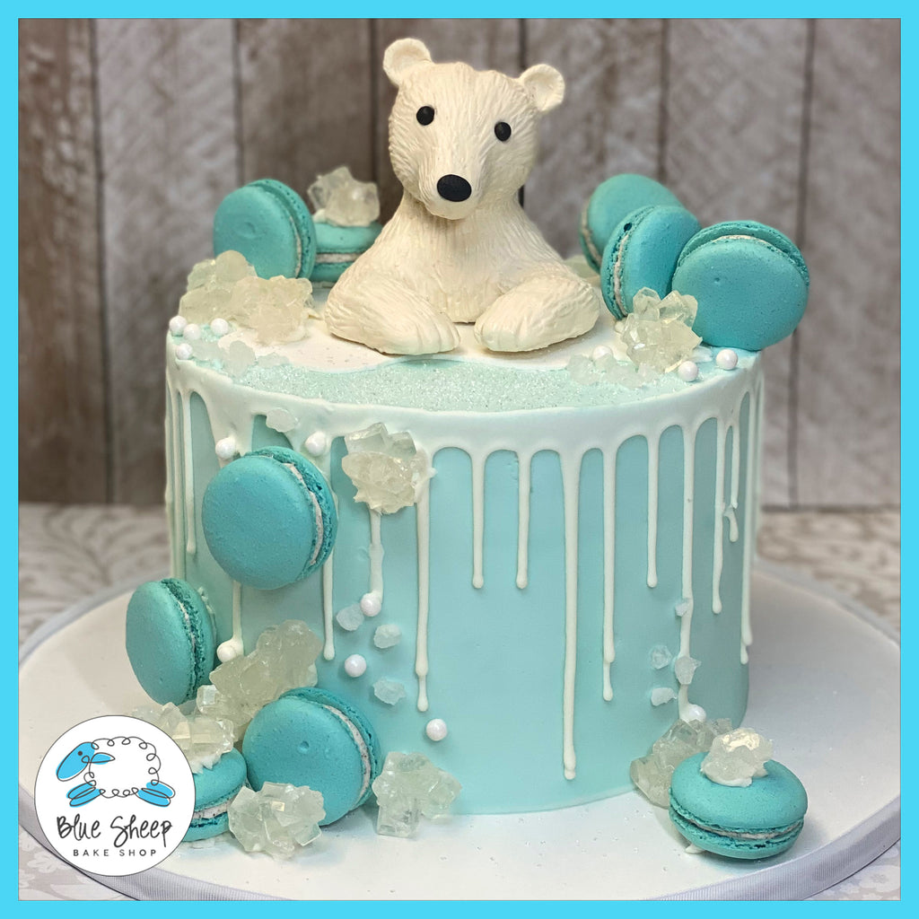 custom polar bear buttercream cake