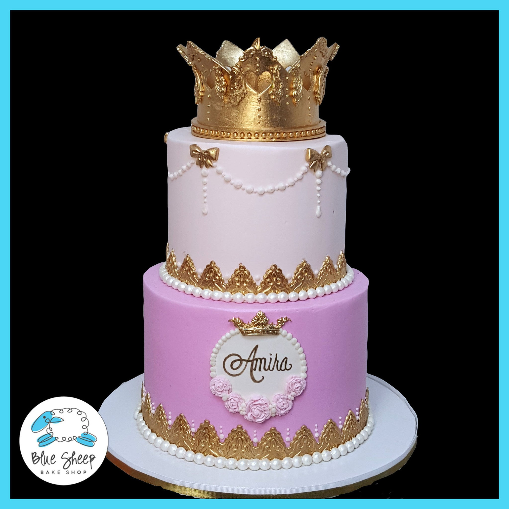 Amiras Princess 1st Birthday Cake Blue Sheep Bake Shop