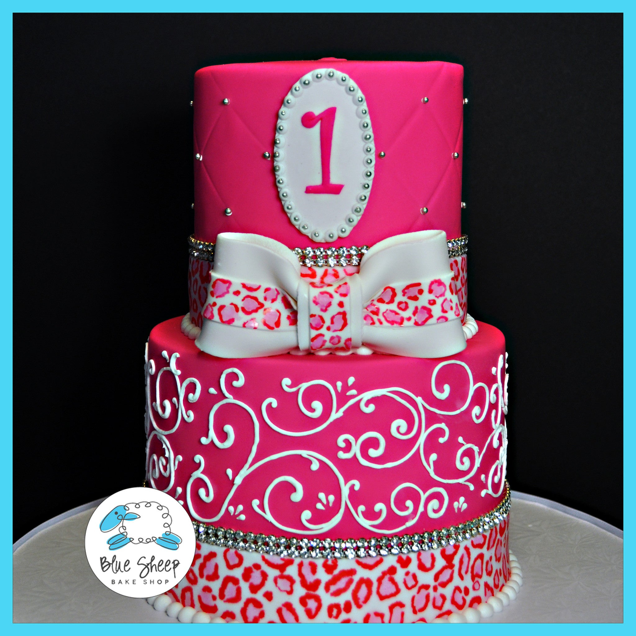 Awesome 1St Birthday Princess With Leopard Print Cake Blue Sheep Bake Shop Personalised Birthday Cards Veneteletsinfo