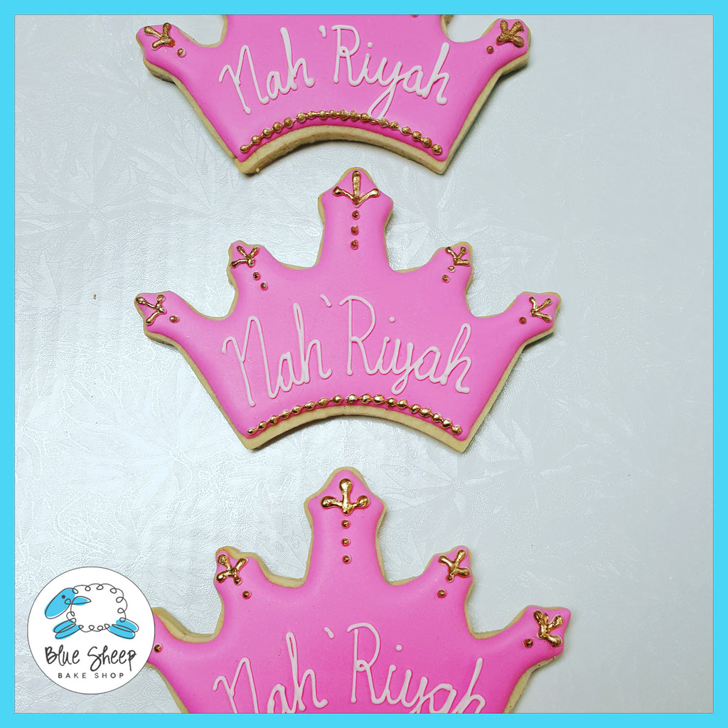 pink princess crown decorated sugar cookies nj