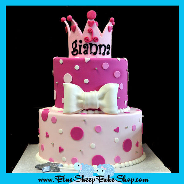 Enjoyable Gianas 1St Birthday Princess Cake Blue Sheep Bake Shop Personalised Birthday Cards Veneteletsinfo